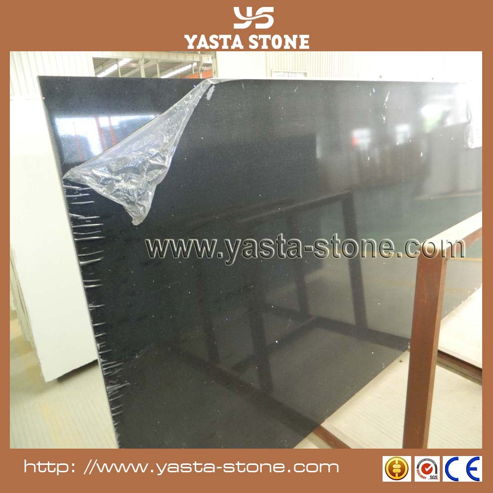 Man made black quartz stone with gold sparkle slab for for Man made quartz countertop