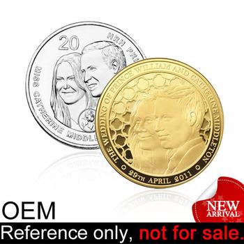Custom Made Engraved Gold Silver Suovenir Metal Wedding Coins