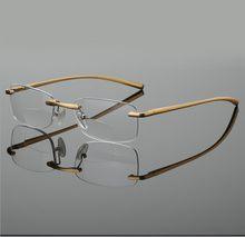 WEARKAPER мужские и женские бифокальные очки для чтения с золотым сплавом, алюминиевая оправа без оправы, диоптрические очки дальнозоркости 1,25 1...(Китай)