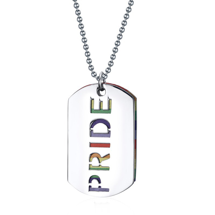 Modalen Stainless Chain Rainbow Colorful Alphabet Letter Pendant Necklace