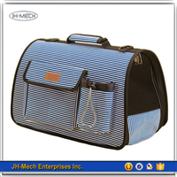 Striped pattern easy carring pet carrier airline approved