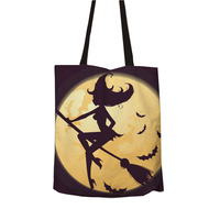 Ginzeal 2019 Girls' Favorite Halloween Cotton Plain Canvas Tote Bag Clutch Bag