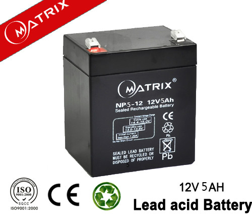 Matrix sealed lead acid 12v 5ah 20hr rechargeable battery