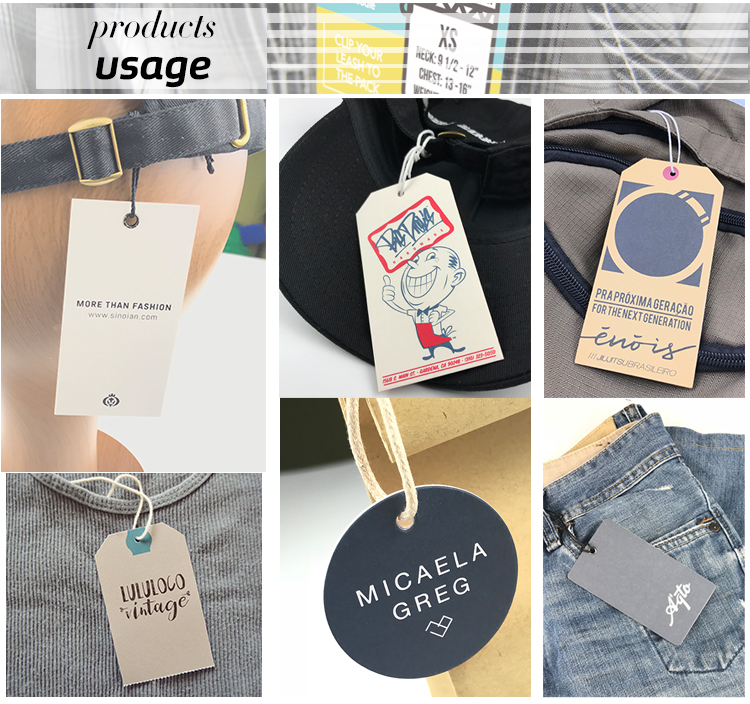 fabric custom recycled jeans clothes cardstock hang tag with your own logo