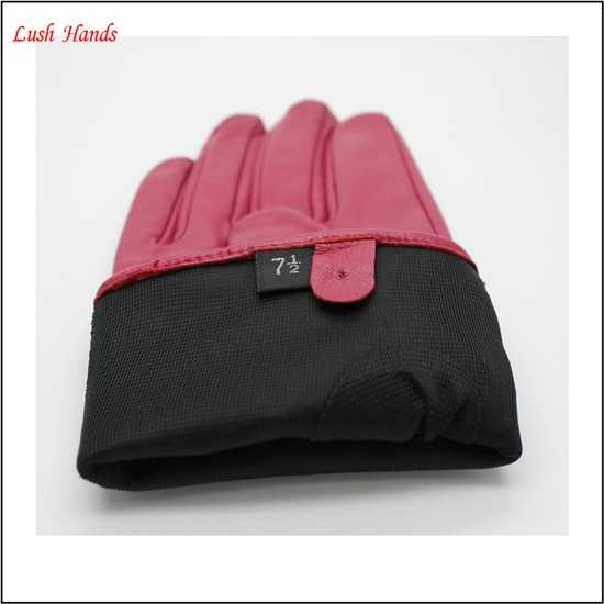 2017 ladies pink fashion color driving leather gloves with bow