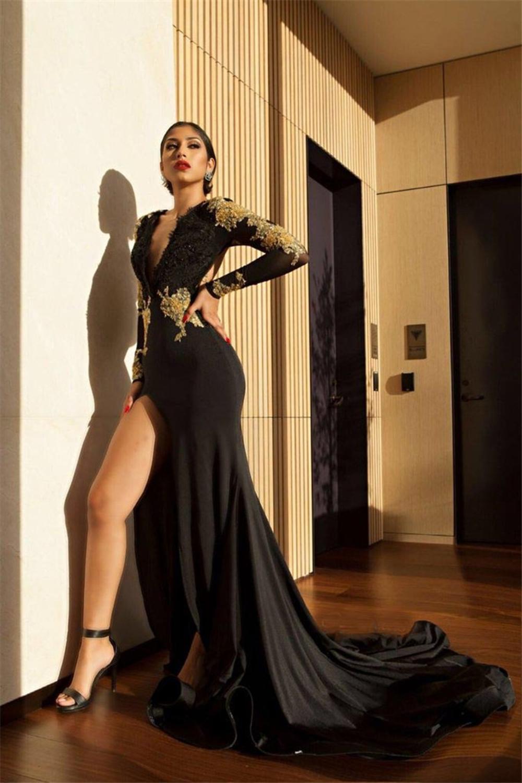 70e1000fc 2018 كم طويل فستان سهرة مذهلة الذهب الأسود حورية البحر فساتين السهرة مثير  السامية الشق فساتين