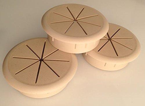 "2.375"" Round Flexible desk Grommet, Plastic, 3-Pack (Beige)"