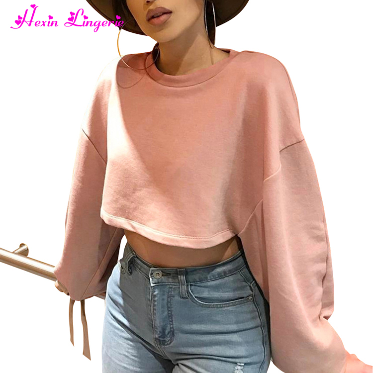 Low Price Wholesale Women Basic Long Sleeve Sexy Strap Pink Crop Tops