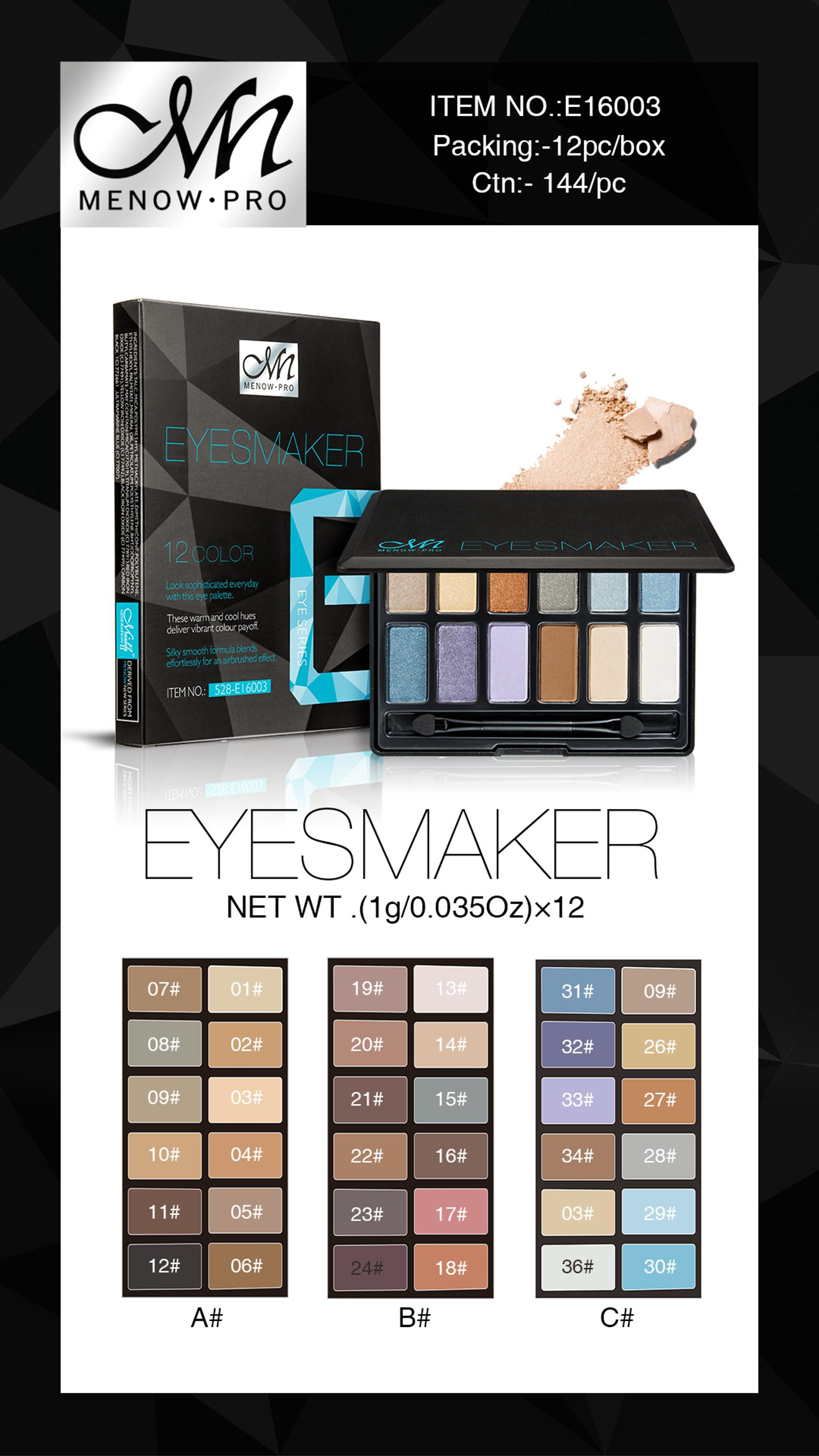 Menow E16003 Cosmetic Makeup Glamorous 12 colors Eye Shadow Palette with Brush