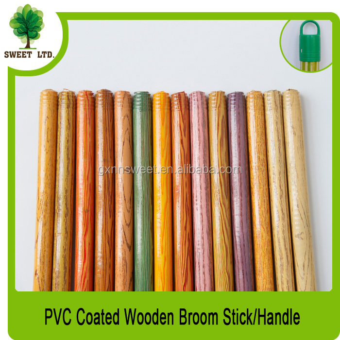 Wooden Handle With 4.5cm Plastic Caps for Cleaning Push Broom