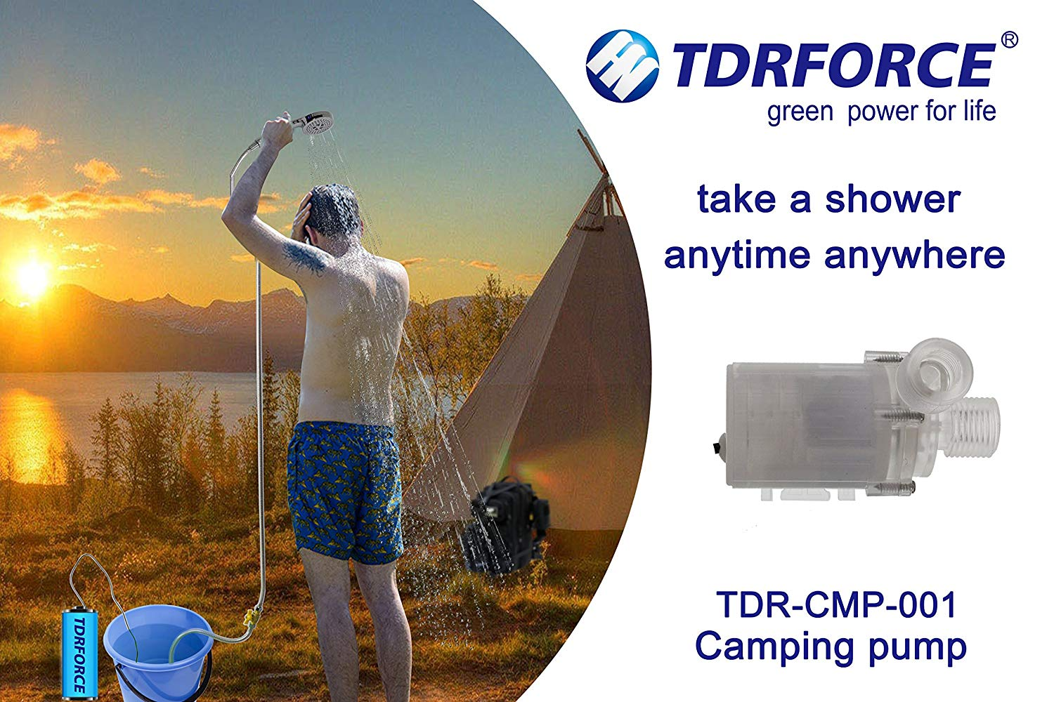 TDRFORCE Profession 24V Portable Outdoor Shower, Battery-Powered Rechargeable Handheld Shower for Camping r Camping Hiking Sailing Underwater Diving etc