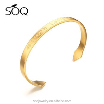 Custom Boy Hand Stamped Coordinates Laude Longitude Anchor Gold Cuff Bracelet