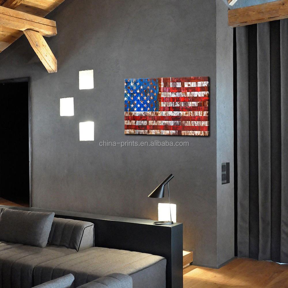 Usa amerikaanse vlag canvas muur vintage vlag op roestig hek ...