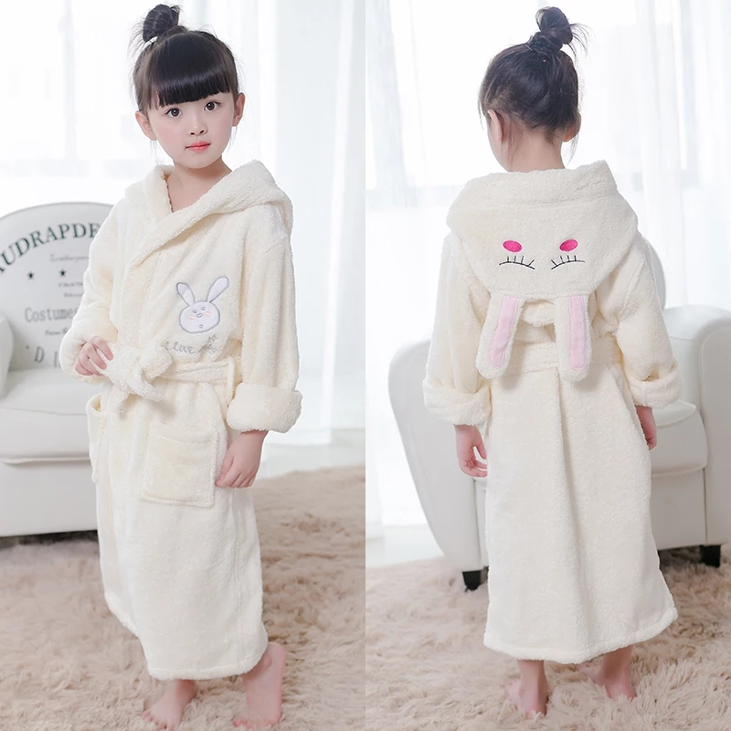 JR643 Cartoon Rabbit Kids Velour Bathrobe Hooded Boys Bath Robes