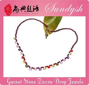Colorful CZ Water Drop Pendant Jewelry Garnet Stone Choker Necklace