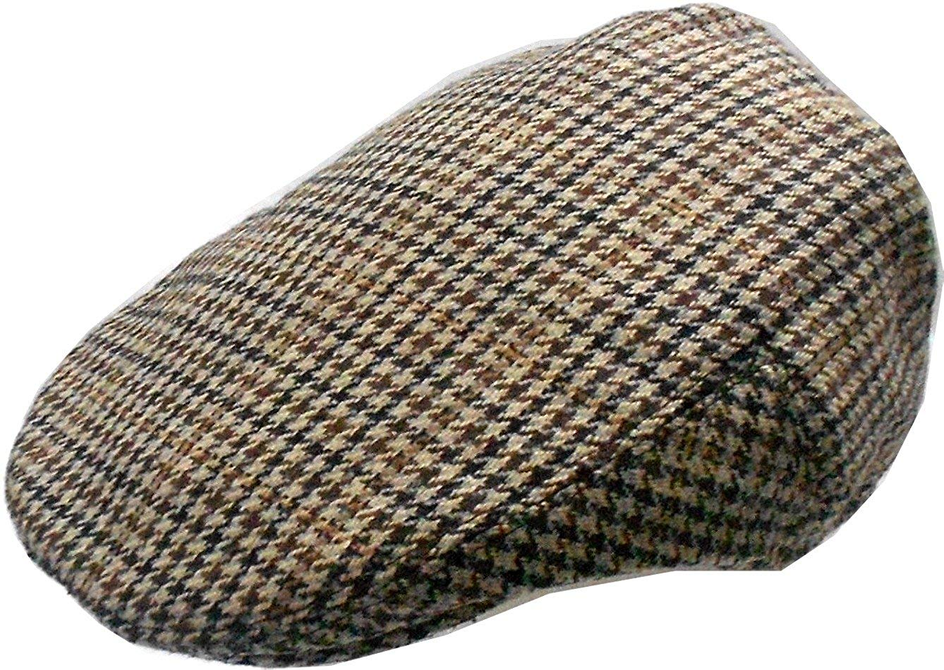 76b9deed37f28 Get Quotations · Mens Wool Blend Houndstooth Ivy Golf Driver Hat Irish  Hunting Gatsby Flat Cap