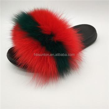 factory wholesale women fox fur slides real fur slippers buy real