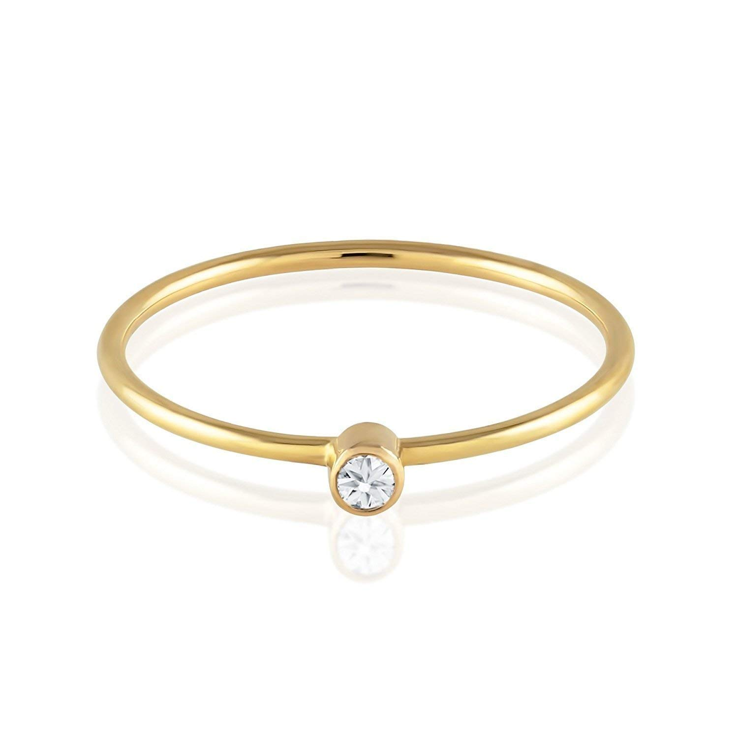 c56f891258 Get Quotations · TousiAttar Diamond Ring - Solitaire Stackable Thin Rings  for Women and Girls - Round Cut Genuine