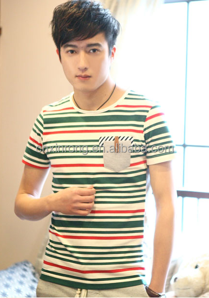 Fashionable cotton t shirt /yarn dyed cotton men's thirts polo/stripe short sleeve