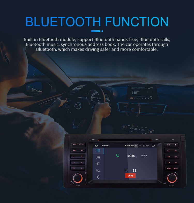 LJHANG Android 9.0 2 + 16G Touch screen Android รถวิทยุสำหรับ BMW 5 series E39 X5 E53 ด้วย GPS นำทาง