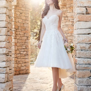 Short White Mini Ankle Length A Line Cheap Simple Design Wedding Dress