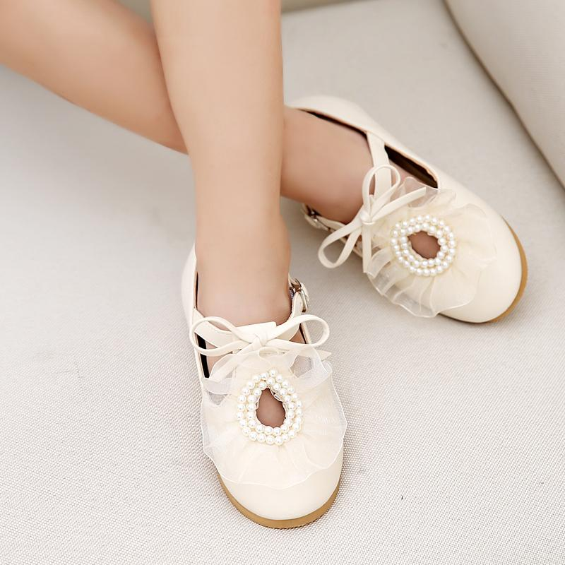 Girls shoes children shoes for pearls lace ladies small shoes flat bottom soft bottom shoes