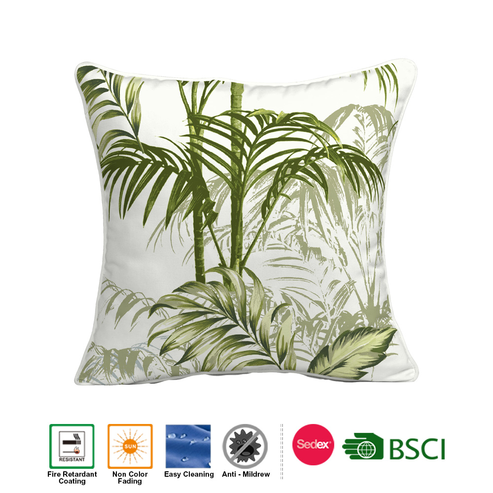 OEM Outdoor Waterproof Tropical Forest Design Throw Pillow Cover 100% Polyester Printed Cushion for home decoration