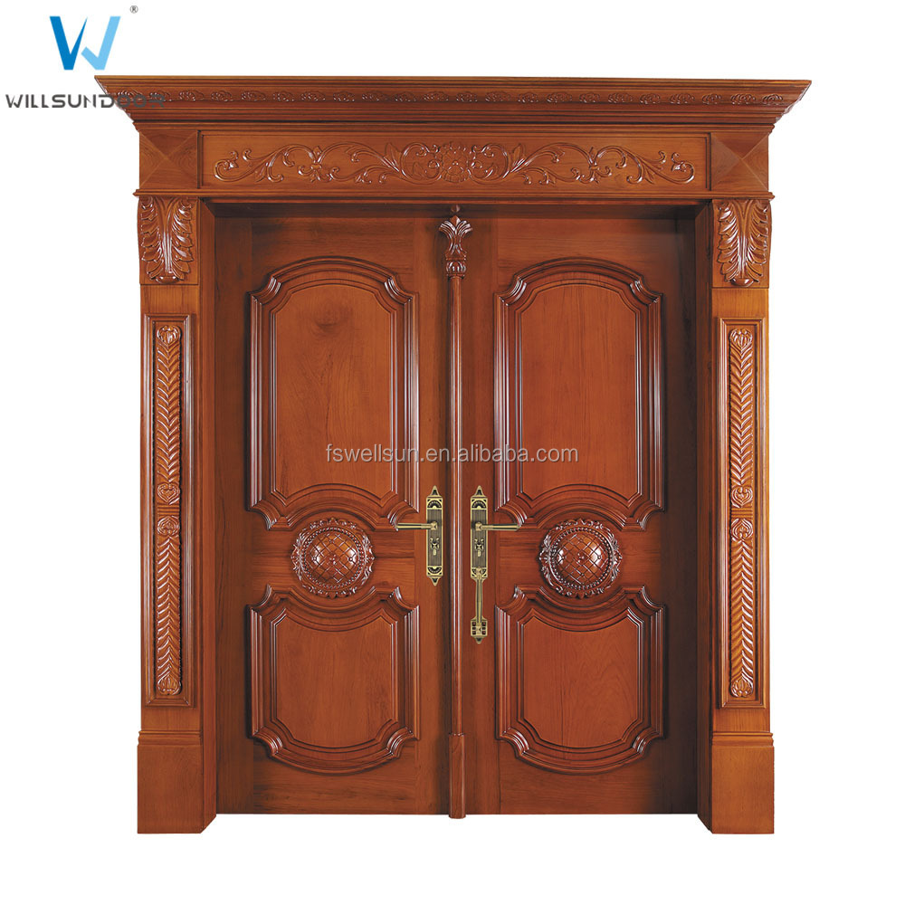 Classical front main double door design kerala door buy for Traditional wooden door design ideas