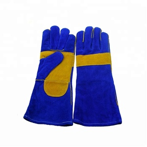 leather work gloves Royal Blue Cowhide Leather welding gloves