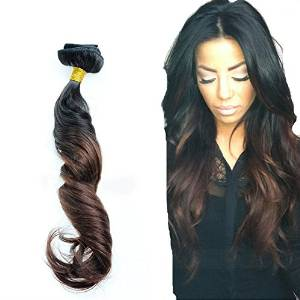 LUFFYWIG Two Tone #1b Ombre #4 Clip In Human Hair Extensions 8pcs 80g Wavy Clipin Hair 8A Brazilian Virgin Human Clip In Hair for Women 14 Inch