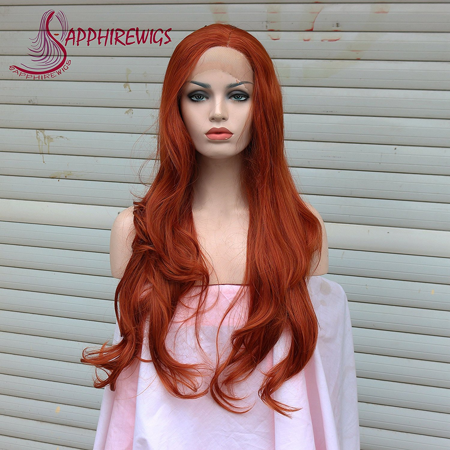 Sapphirewigs Orange-red Natural Wavy Party Wig Cosplay Wig Glueless Synthetic Lace Front Wig Heat Resistant Hand Tied Lace Front Wig For Women