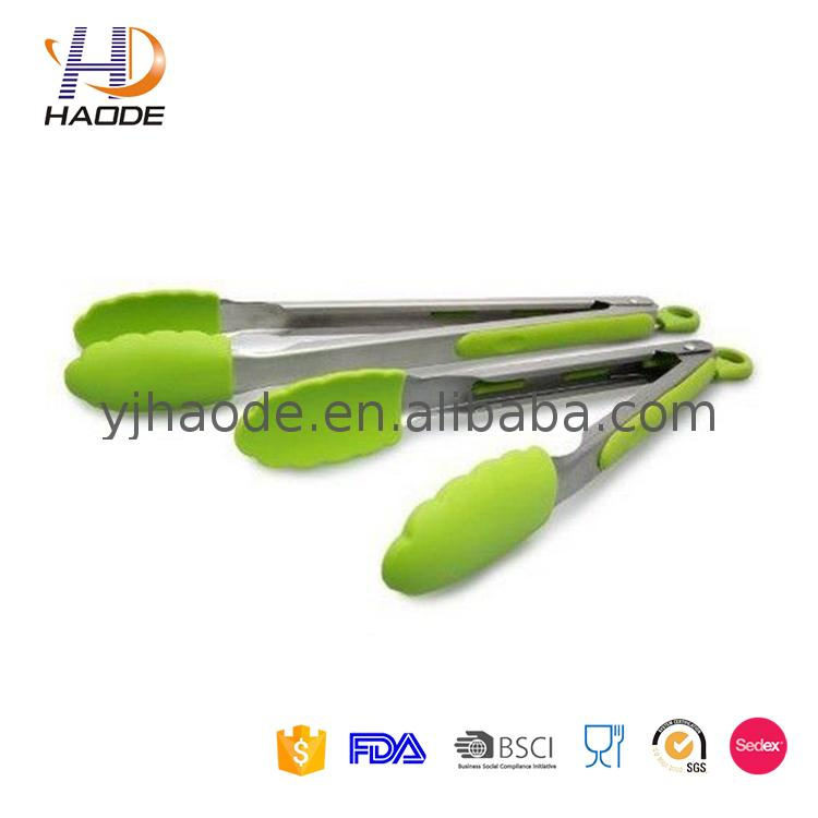 colorful soft handle easy lock silicone tongs