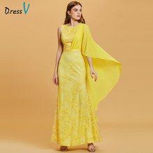 Длинное вечернее платье Dressv daffodil, недорогое платье с глубоким вырезом и кружевной аппликацией, платье-футляр для свадебной вечеринки, вечер...(China)