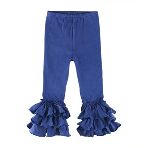 Hot sale baby girls icing ruffle pants wholesale solid colors long pants for girls