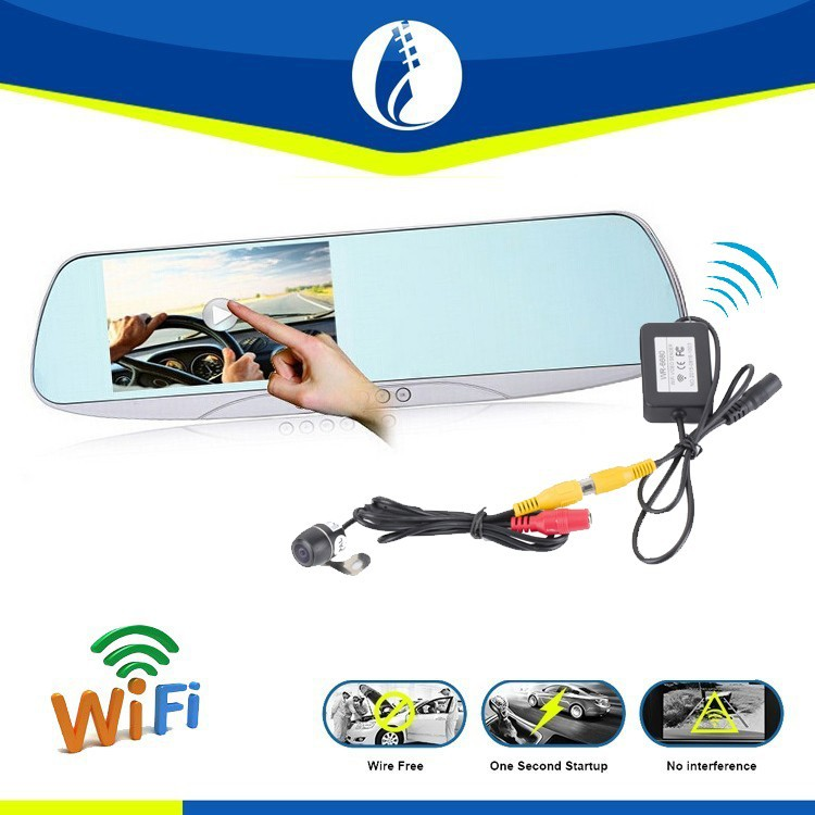Wireless wifi 5inch Reserving Tractor Rear View Mirror, GPS Navigation Car DVR Dual Camera