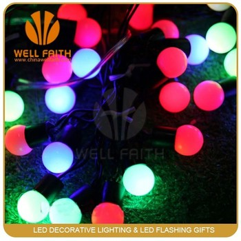 multi color 17mm bulb factory wholesale led round ball christmas lights white ball string