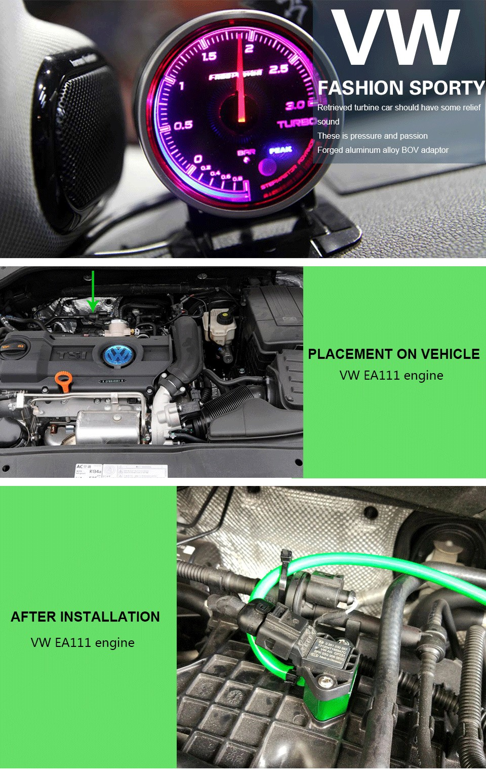 Blow Off Valve Vacuum Adapter Boost Tap For Vw/audi 1 4t Ea111 Engine!  Aluminum Alloy! Connecting A Boost Gauge  Savanini - Buy Boost Tap,Vacuum