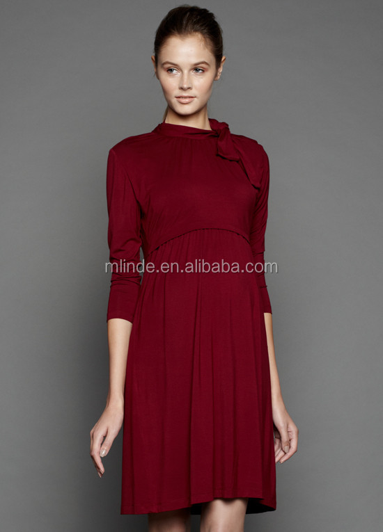 764bd319bf3 Plus Size Women Clothing Nursing Dress 3/4 Sleeves Side Ties Snap Buttons  Sexy Elegant
