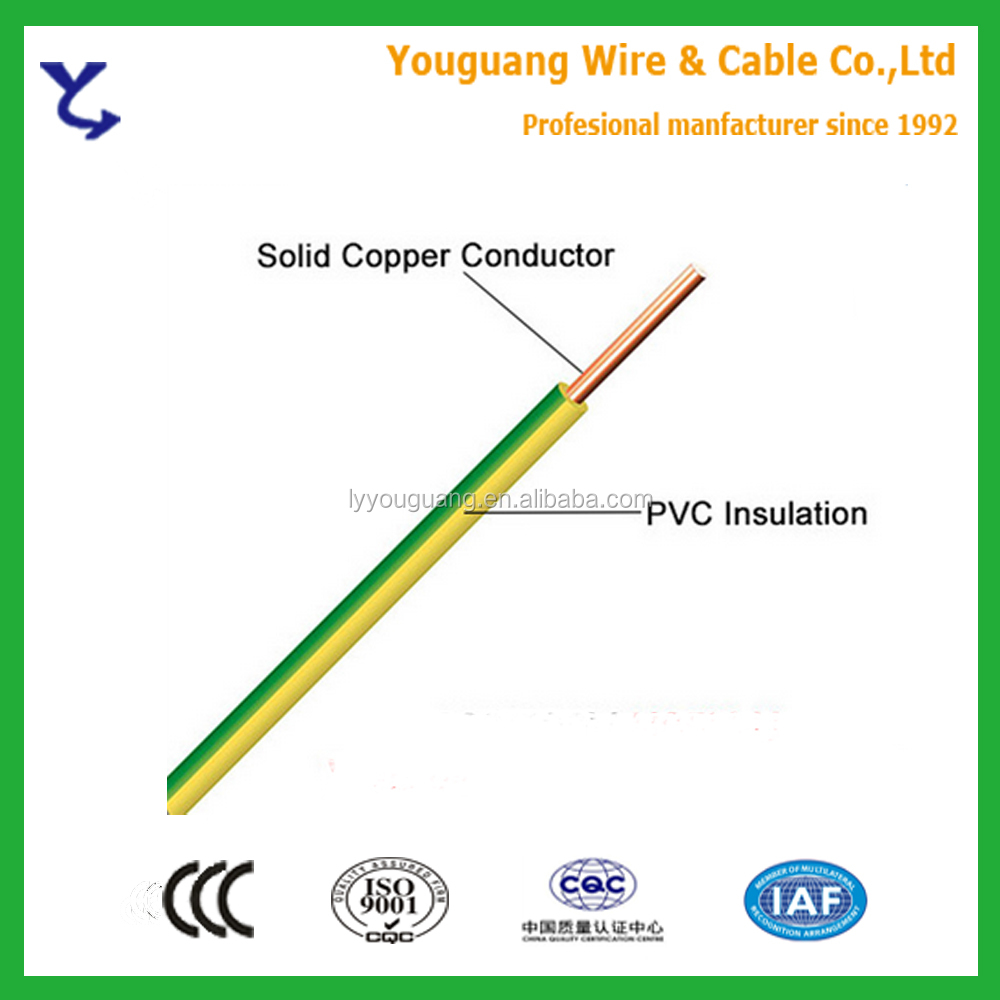 1.5mm 2.5mm 4mm 6mm 10mm Grounding Cable Yellow Green