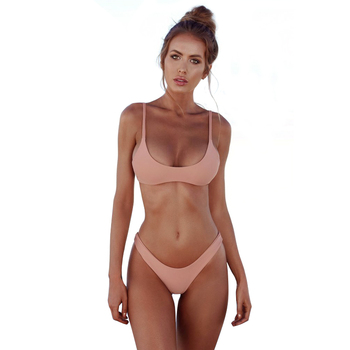 Brazilian solid swimsuit micro bikini swimwear women