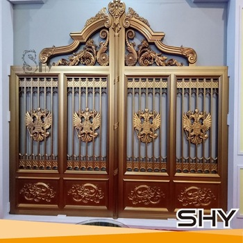 Aluminium door grill designs main gate designs new house for Decorative main door designs