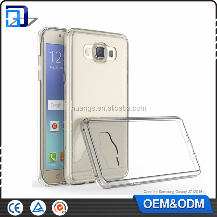 Ultra thin Color Soft TPU Transparent Acrylic Combo Case Back Cover for Samsung Galaxy J7 2016 J710 Clear Case China Wholesale