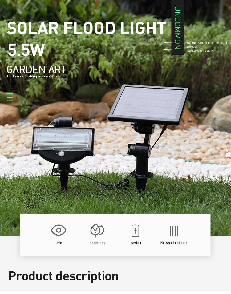 800LM 6W LED Wireless All In One Solar Powered Flood Light Motion Sensor