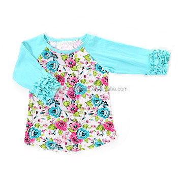new plain floral cotton ruffled girl boutique clothing child raglan t-shirts on sale