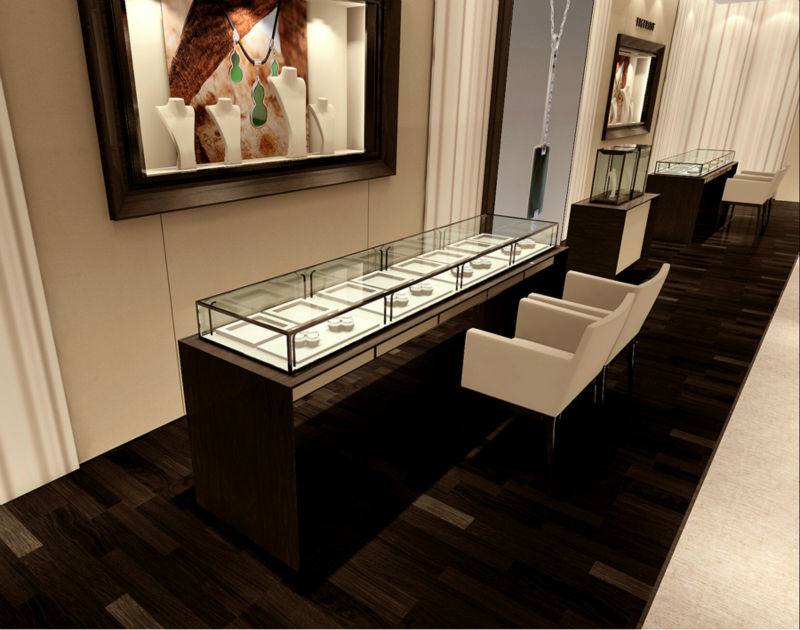 Custom glass jewellery shop counter design jewelry showcase with led spotlight for sale