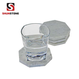 Factory Direct Anti-Stain White Carrara Coasters Marble Coaster with Rubber Feet