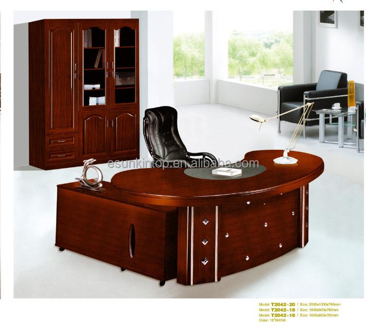 Executive Antique Wood Office Furniture Oval Desk