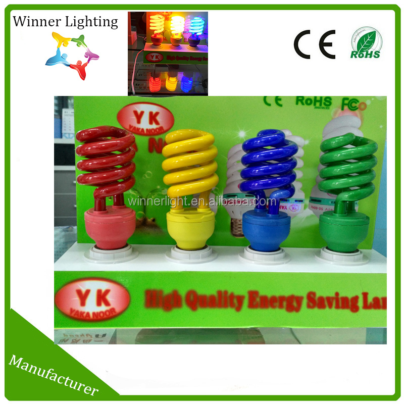 Colored E27 15W fluorescent light bulb half full spiral energy saving lamp cfl RoHS SASO approved red blue yellow green lighting