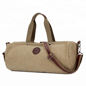 China factory vintage canvas leather wholesales overnight weekend duffel bags custom sport mens travel bag