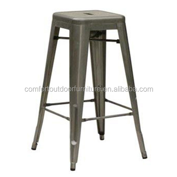 "Commercial Quality Hotel Counter Stool Metal Stool with Galvanised Finish 26"" Seat Height"